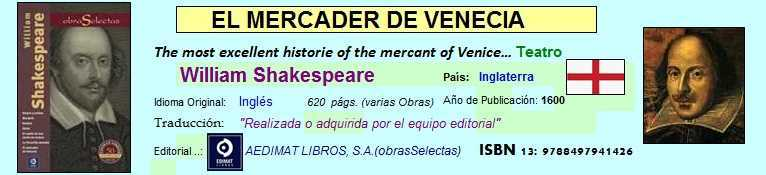 Acceso directo a los fragmentos de El mercader de Venecia de William Shakespeare